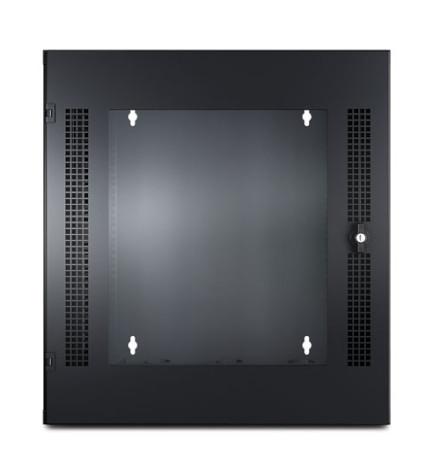 Rack APC NetShelter WX 13U, 584 mm de Largura x 631 mm de Profundidade, com trilho para Montagem Vertical com Perfuração Roscada e Porta Frontal de Vidro, Preto